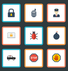 Flat icons virus policeman explosive and other vector