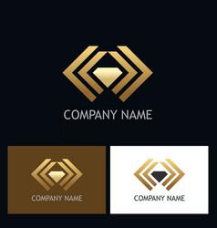 Gold abstract shape diamond logo vector