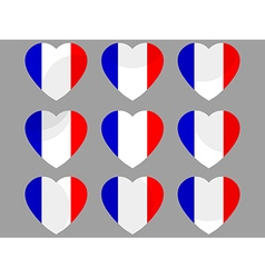 Hearts with the French flag vector image vector image