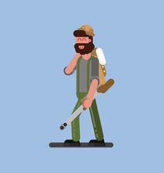 hunter walking with gun and jacket vector image