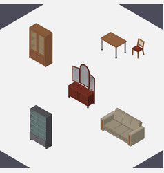 Isometric furniture set of sideboard drawer vector