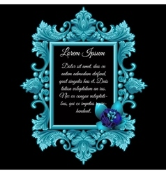 Metal blue decoration frame with the flower vector