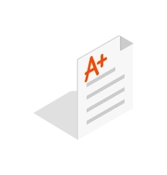 Perfect grade on a paper test icon vector