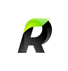 R letter black and green logo design fast speed vector