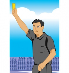 referee shows yellow card vector image vector image