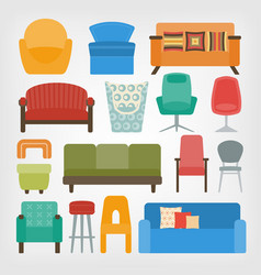 Retro 70s furniture set armchairs chairs and vector