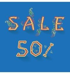 Sale fifty percents artistic font vector