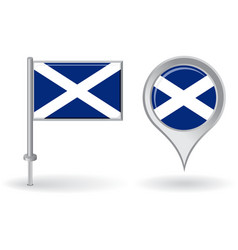 Scottish pin icon and map pointer flag vector