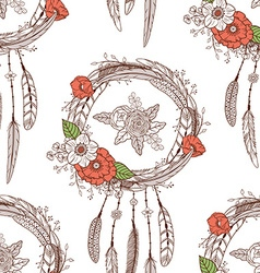Seamless pattern with dreamcatchers vector