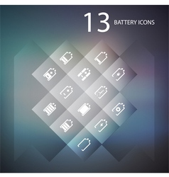 set of battery icons vector image