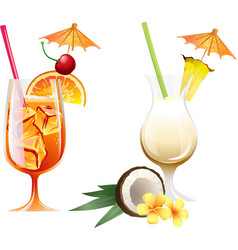 Set of beach tropical cocktails bahama mama and vector image