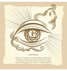 Spiritual eye in vintage style vector