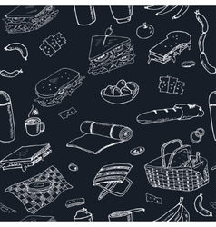 Summer picnic doodle seamless pattern various vector