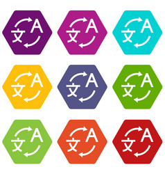 translating icon set color hexahedron vector image vector image