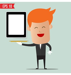 Waiter serving mobile device - - eps10 vector