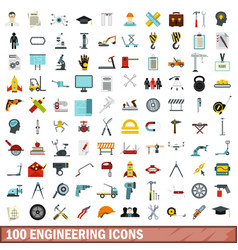 100 engineering icons set flat style vector