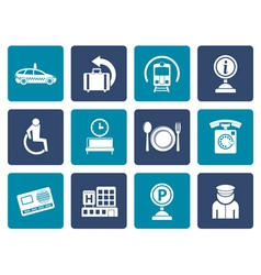 Flat airport travel and transportation icons 2 vector image