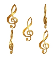 Golden treble clef in different projections vector
