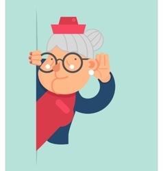 Old lady gossip listen overhear spy out corner vector