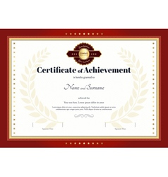 Certificate of achievement template red border vector