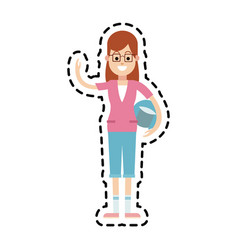 Happy young woman icon image vector