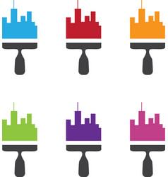Set of city skyline renovation icons with paint vector