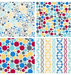 Molecular structure seamless patterns vector