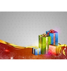 Christmas background two color gifts red vector
