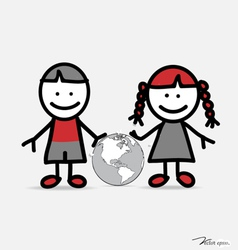 Cute children and globe vector