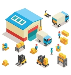 Isometric factory distribution warehouse building vector