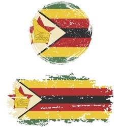 Zimbabwean round and square grunge flags vector