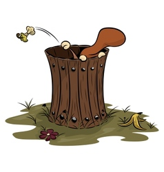 squirrel trash can vector image