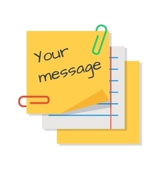 Text message on paper stickers vector