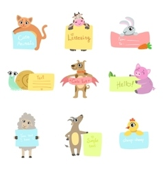 Animals with cards to fill set vector