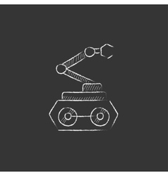 Industrial mechanical robot arm drawn in chalk vector
