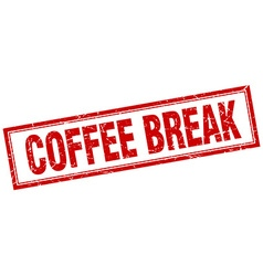 Coffee break red square grunge stamp on white vector