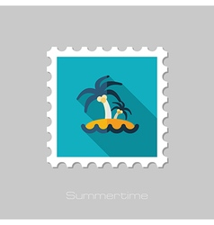 Island with palm trees flat stamp vacation vector