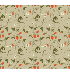 Seamless patterns with strawberries vector image