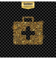 Gold glitter icon of first aid isolated on vector