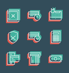 Business finance line icon set anaglyph 3d vector