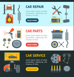 cartoon car service banner horizontal set vector image vector image