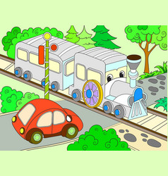 Cartoon train and car for children color vector