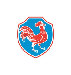 Chicken rooster side shield woodcut vector