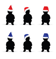 Children with new year hat color vector