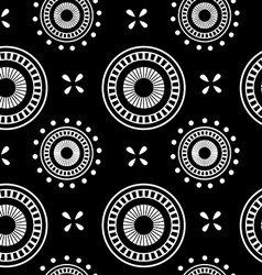 Circle geometric seamless pattern on a black vector image