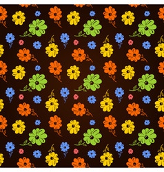 colorful flowers seamless background black vector image