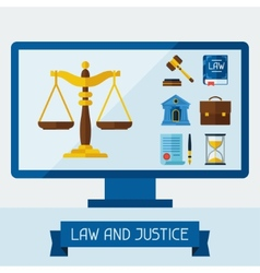Concept with computer and law icons vector