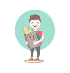Dark haired young character holding the paper bag vector