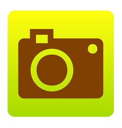 Digital camera sign brown icon at green vector