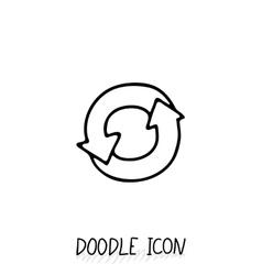 Doodle circle arrow icon eco recycle pictogram vector